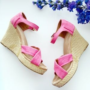 Toms Platform Pink Sienna Wedge Sandals